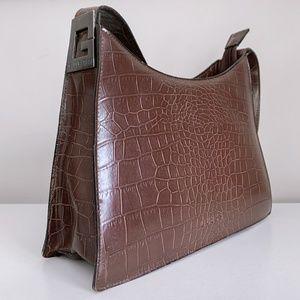 vintage guess croc effect shoulder bag